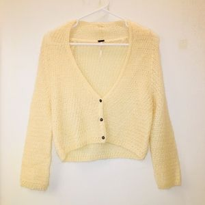 Free People Mohair Soft Cropped Cream Cardigan